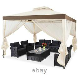 10'x 10' Canopy Gazebo Tent Shelter withMosquito Netting Outdoor Lawn Patio Beige
