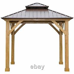 10' x 10' Hardtop Gazebo Patio Canopy Shelter Outdoor with Steel Double Tier Roof
