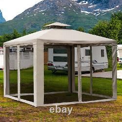 10 x 10 Outdoor Patio Gazebo Pavilion Canopy Tent Steel 2-tier with Mask