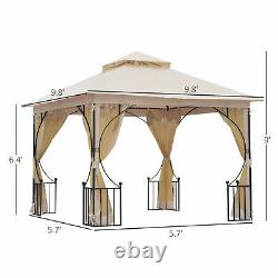 10 x 10 ft Outdoor Gazebo Canopy Garden Patio Party Shelter with 2-Tier Roof