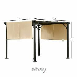 10 x 10 ft Outdoor Patio Gazebo Pergola with Retractable Canopy Roof