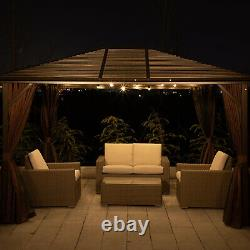 10 x 12' Deluxe Gazebo Patio Canopy Hard Top Outdoor Event With Double Netting