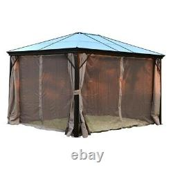 10 x 12' Deluxe Gazebo Patio Canopy Hard Top Outdoor Event With Mesh Netting New