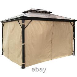 10'x10' Outdoor Patio Canopy Party Gazebo Shelter Hardtop with Mesh and Curtains