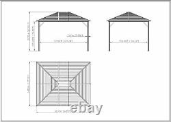 10' x12' Patio Gazebo Deluxe Canopy Hard Top Outdoor Event With Double Netting