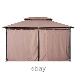 10'x13' Outdoor 2-Tier Vented Canopy Steel Gazebo BBQ Party Tent Shelter Shade