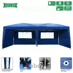 10X20' Outdoor EZ Pop Up Tent Folding Gazebo Wedding Party Canopy With 4Sides