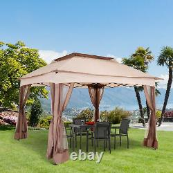 11'x11' Outdoor 2-Tier Pop Up Folding Gazebo Portable Party Tent With Netting