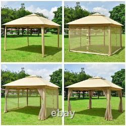 11x11ft Pop-Up Gazebo Tent with Mesh Sidewall Canopy Shelter Outdoor Home Patio