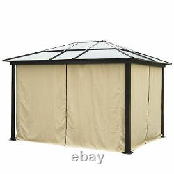 12'x10' Outdoor Patio Canopy Party Gazebo Shelter Hardtop with Mesh and Curtains