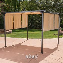 Dione Outdoor Modern 9.5' by 9.5' Steel Gazebo Canopy with Water-Resistant Cover