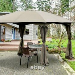 Gazebo Tent Outdoor Metal Frame Wedding Party Tent With Walls 11.5' Patio Canopy