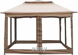 Lonabr Outdoor Gazebo Pop Up Canopy Tent with Mesh Sidewall Patio Sun Shelter