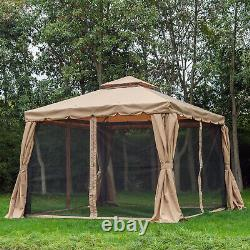 Outsunny 10'x10' Aluminum Outdoor Garden Gazebo Canopy Tent with Mesh Sidewalls