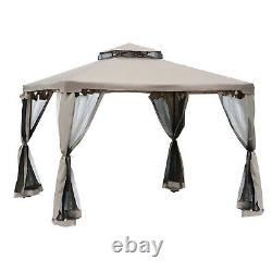 Outsunny 10x10 Steel Fabric Outdoor Patio Gazebo Pavilion Canopy Pop Up Tent
