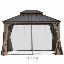 Outsunny 12' x 10' Outdoor Hardtop Gazebo with Steel Canopy and Netting Sidewalls