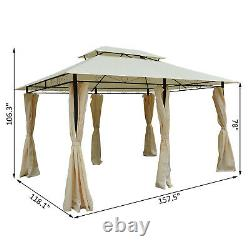 Outsunny 13 x 10 Outdoor 2-Tier Steel Frame Gazebo with Curtains Black/Cream