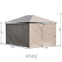 Outsunny 13' x 10' Steel Outdoor Patio Gazebo Pavilion Canopy Tent with Curtains