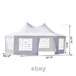 Outsunny 22' x 16' Large Octagon Outdoor Wedding Party Canopy Gazebo Tent White