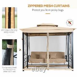 Outsunny 3 Person Outdoor Patio Daybed Canopy Gazebo Swing with Mesh Walls