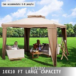 Patio Gazebo Canopy 10x10ft Outdoor 2Tier Tent Shelter Awning Steel withNetting
