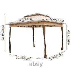 Patio Gazebo Canopy10.8x10.8ft Outdoor 2Tier Tent Shelter Awning Steel withNetting