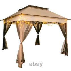 Patio Gazebo Canopy11x11ft Outdoor 2-Tier Tent Shelter Awning Steel withNetting