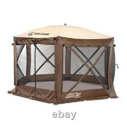 Quick-Set 12.5 ft. Pavilion Portable Outdoor Gazebo Canopy Shelter Screen, Brown