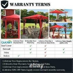 Quictent 10'X10' Steel Heavy Duty Patio Gazebo Outdoor Pavilion Canopy Tent Red