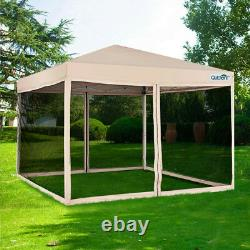 Quictent 10'x10' Mesh Pop Up Canopy Patio Gazebo Outdoor Party Commercial Tent