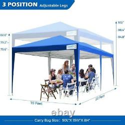 Quictent Outdoor 10x20ft EZ Pop Up Canopy Wedding Party Tent Gazebo With Sidewall