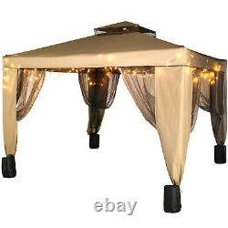 VEVOR 10x10ft Outdoor 2-Tier Top Folding Portable Gazebo Vented Awning withNetting
