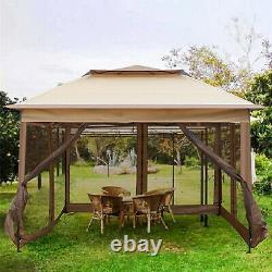VILOBOS 10'x10' Pop Up Gazebo Folding Canopy Outdoor Party Tent With Mesh Sidewall
