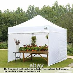 White 10x10 Ez Pop Up Canopy Outdoor Folding Gazebo Tent Shelter with Side Walls