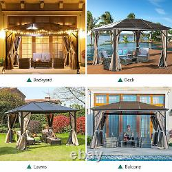 YITAHOME 10 x 12' Gazebo Patio Canopy Hard Top Outdoor Event + Mesh and Curtains