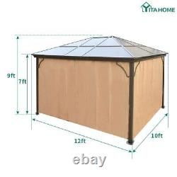 YITAHOME 10'x12' Gazebo Canopy Outdoor Patio Party Tent Hardtop with Mesh Netting